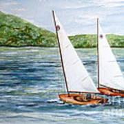 Racing On The Lake Art Print
