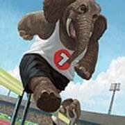 Racing Running Elephants In Athletic Stadium Art Print by Martin Davey