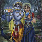 Radha And Krishna On Full Moon Art Print by Vrindavan Das