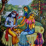 Radha Krishna Man Lila On Radha Kunda Print by Vrindavan Das