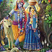 Radha-krishna Radhakunda Art Print by Lila Shravani