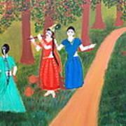 Radha Playing Krishna Art Print by Pratyasha Nithin