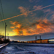 Railroad At Dawn Art Print