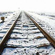 Railroad In Snow Art Print