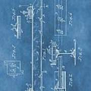 Railroad Tie Patent On Blue Art Print