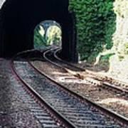 Railroad Tracks At Conway Castle, Wales  Art Print