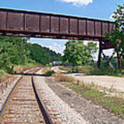 Railroad Train Tracks And Trestle Art Print
