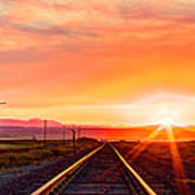 Rails To The Red Sky Art Print