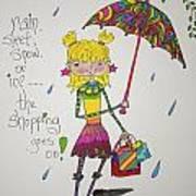 Rain And Shopping Art Print by Mary Kay De Jesus
