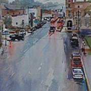 Rain At Rush Hour Fairfield Il Art Print