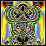 Rainbow Alien Owls Fractal 57 Art Print