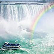 Rainbow And Tourist Boat At Niagara Falls Art Print