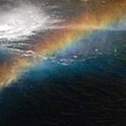 Rainbow At Waterfall Base Art Print