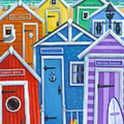 Rainbow Beach Huts Art Print