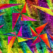 Rainbow Bliss - Pin Wheels - Painterly - Abstract - H Art Print