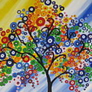 Rainbow Bubble Tree Art Print
