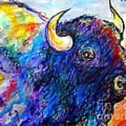 Rainbow Buffalo Art Print by M C Sturman