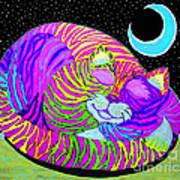 Rainbow Cat Blue Moon Art Print