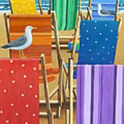 Rainbow Deckchairs Art Print