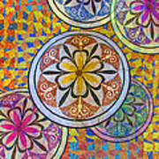 Rainbow Mosaic Circles And Flowers Art Print