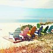 Rainbow Of Adirondack Chairs IIII Art Print