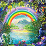 Backgraund Rainbow On Varshana  Art Print by Lila Shravani