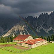 Rainbow Over Casera Vedorcia Dolomites Art Print