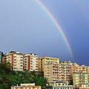 Rainbow Over The Town Art Print