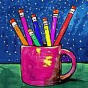 Rainbow Pencils In A Cup Art Print