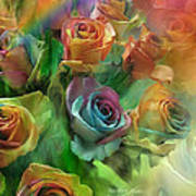 Rainbow Roses Print by Carol Cavalaris