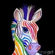 Rainbow Striped Zebra 2 Art Print