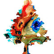 Rainbow Tree 2 - Colorful Abstract Tree Landscape Art Art Print by Sharon Cummings
