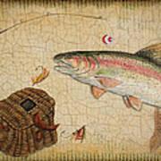 Rainbow Trout-basket Weave Art Print