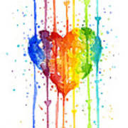 Rainbow Watercolor Heart Art Print
