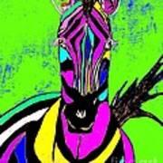 Rainbow Zebra 2 Abstract Art Print