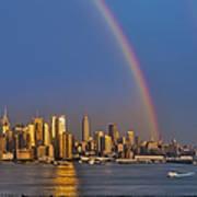 Rainbows Over The New York City Skyline Print by Susan Candelario