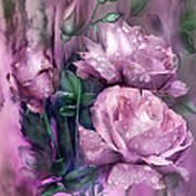 Raindrops On Pink Roses Art Print