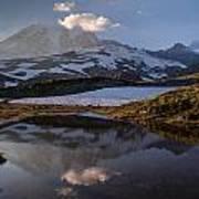Rainier Reflected In A Glacial Tarn Art Print