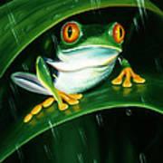 Rainy Day Frog Art Print