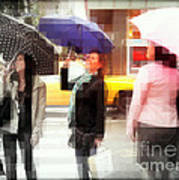 Rainy Day In The City - Blue Pink And Polka Dots Art Print