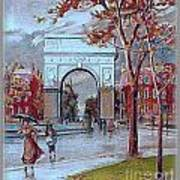 Rainy Day In Washington Square- New York City- 1905 Art Print