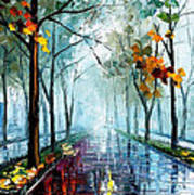 Rainy Day - Palette Knife Oil Painting On Canvas By Leonid Afremov Art Print