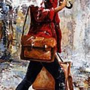 Rainy Day - Woman Of New York 17 Art Print
