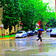 Rainy Days And Mondays Girl Running With The Blue Umbrella Montreal Art City Scenes Carole Spandau Art Print