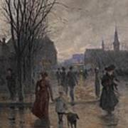 Rainy Evening On Hennepin Avenue Print by Robert Koehler