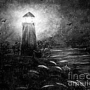 Rainy Night At The Lighthouse Art Print