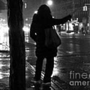 Rainy Night - Hailing A Cab Art Print