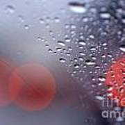 Rainy Windshield Brake Lights Art Print