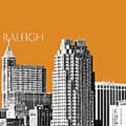 Raleigh Skyline - Dark Orange Art Print