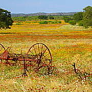 Ranch And Wildflowers And Old Implement 2am-110547 Art Print